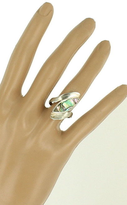 Vintage Mid Century Modern Sterling Silver Marquise Abalone Design Ring Size 8.5