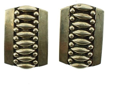 "Vintage Sterling Mexico Jfc Platara Mid Century Modern Screw Back Earrings 7/8""H"