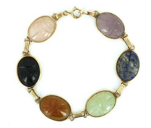 """Antique Deco 10k Gold Lapis, Rose Quartz, Jade, Scarab Gemstone Bracelet 7.5"""""""