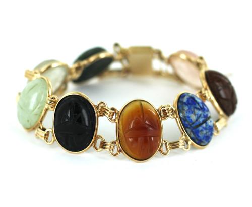Antique Deco 10k Gold Double Link Sodalite, Gold Stone, Jade, Scarab Bracelet7.5