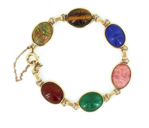 "Antique Deco 14k Gold Agate, Tigers Eye, Unakite Scarab Gemstone Bracelet 7.25"""