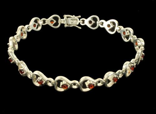 """Vintage Sterling Silver 2ct Garnet Heart Design Link Bracelet w/ Box 7"""""""