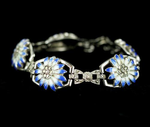 """Antique Deco 14k Gold Filled GF Marcasite Enamel Flower Floral A&Z Link Bracelet 7"""""""
