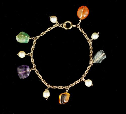 "Antique Deco 12k Gold Filled GF Aquamarine, Carnelian, Pearl Charm Bracelet 7.5"""