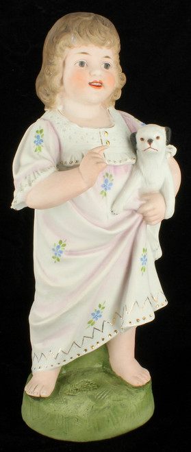 Antique Heubach Happy Child wPuppy Dog Doll Porcelain Victorian Figurine Germany