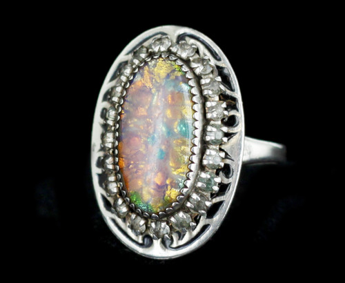 Antique Deco Martelli Sterling Venetian Art Glass 30's Adjustable Ring