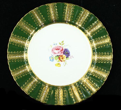 "Vintage Paragon Hand Painted Peony Cabinet 8"" Plate Green Fleur de Lis Gold Leaf"