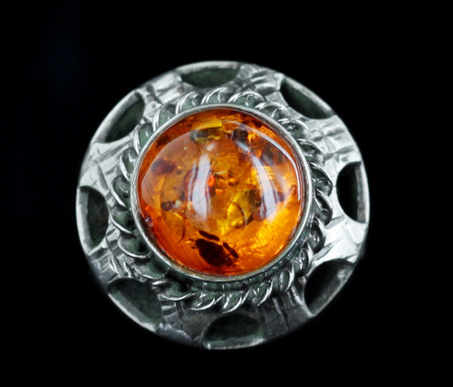 Antique Art Deco Arts and Crafts Sterling Amber Austro Hungarian Ring 7.75