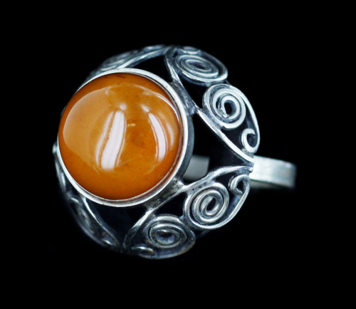 Antique Art Deco Arts and Crafts Sterling Amber Austro Hungarian Ring 8