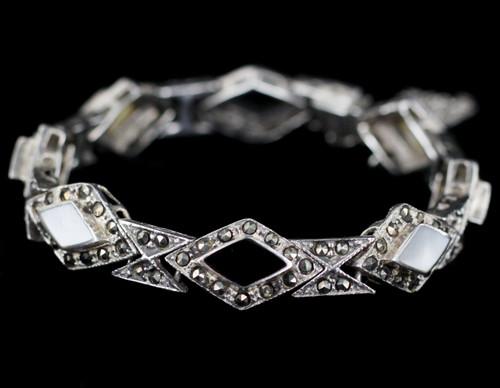 "Vintage Art Deco Black Onyx Mother of Pearl MOP Marcasite Bracelet 6.25"""