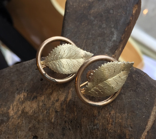 Antique 12K GF Gold Filled Edwardian Victorian Screw Back Leaf  Circle Earrings