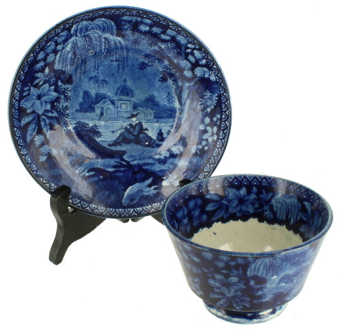 Antique Rare Blue Staffordshire Opium Smokers Jos Stubbs Pearlware Cup & Saucer