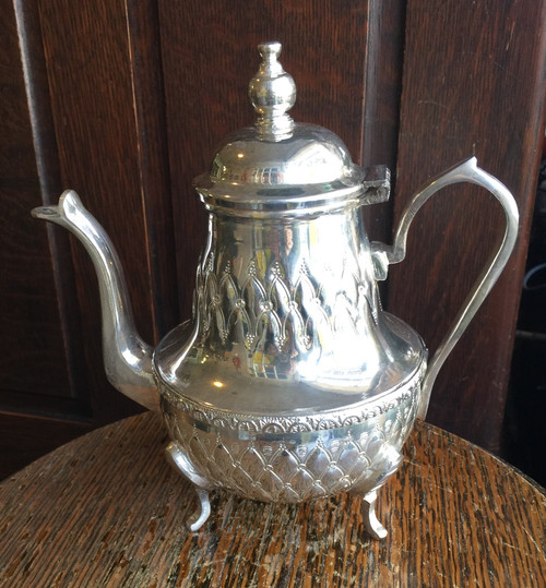 Vintage  French Tufted Design Chomouri Silver PlateTea Pot Silverplate Signed