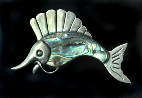 "Vintage Sterling Ana Sosa Taxco Mexico Marlin fish Abalone Pin Hand Made 2.75"" W"