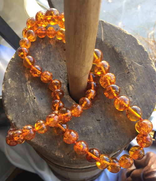 """Vintage Russian Baltic Amber Cognac 10mm-17mm Bead Necklace Stunning 94.1g 31"""""""