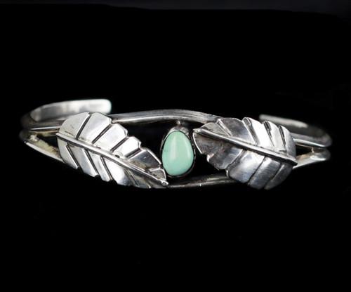 "Vintage Old Pawn Sterling Royston Turquoise Leaf Design cuff Bracelet 6.25"""