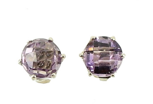 Vintage Sterling Checker Cut Faceted 2.52ct Amethyst Post Earrings Very Pretty!