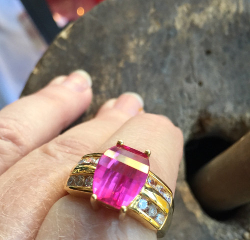 Vintage Sterling Statement Gold Vermeil 6.0ct Pink Sapphire Crystal Cut Ring 9