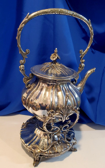Antique French Shells Tea Kettle On Stand w/Burner, Tilts To Pour Silver Plate