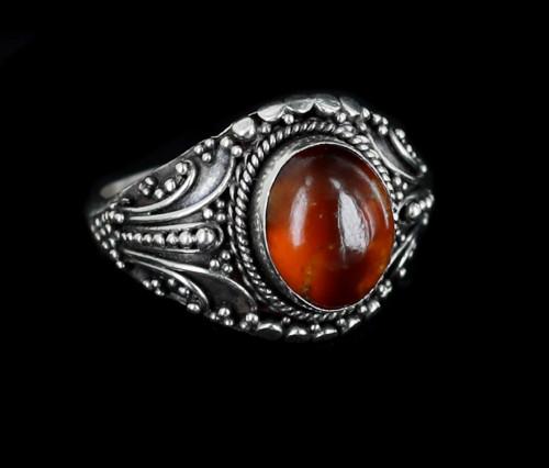 Vintage Sterling Silver Orange Mexican Fire Opal Ring sz 8