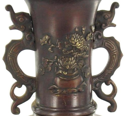"""Antique Chinese Bronze Asian Bird Serpent Chrysanthemum Floral Urn Vase 12 """"H"""