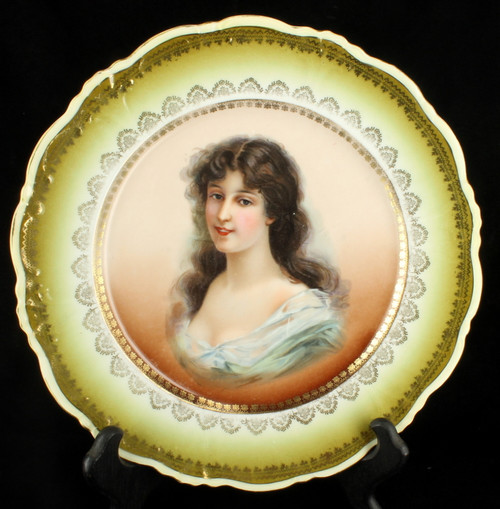 Antique Vienna Porcelain Portrait Plate Austrian Elbogen  Cabinet Wall Lady  9.5