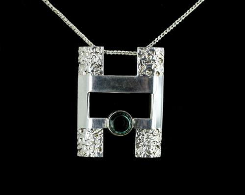Antique Art Deco Teal Green Zircon 835 Silver European Pendant Necklace