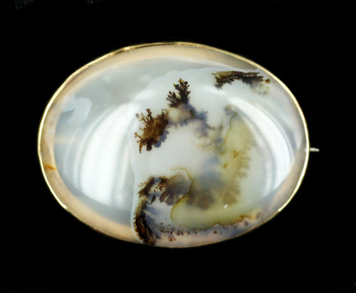 Antique Victorian Yellow Gold Dendritic Agate Pin Brooch