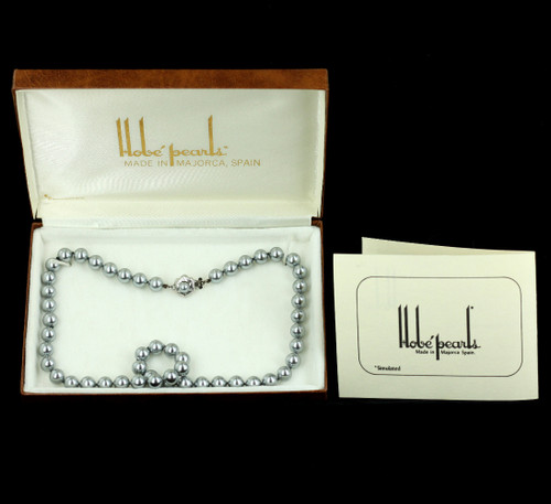 "Vintage Hobe Hand Knotted Majorca Spain Simulated Pearls 18"" w Origional Box"