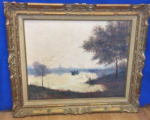 Vintage Oil Painting Dreamy Morning Potomac River Washington DC Landscape Signed