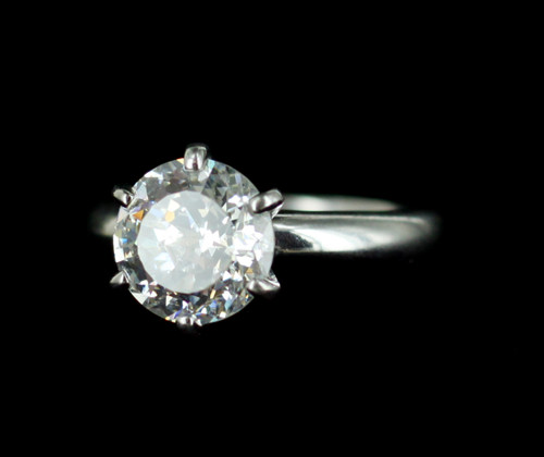 Vintage Sterling Silver Diamond Cubic Zirconia CZ Solitaire Engagement Ring 6.25