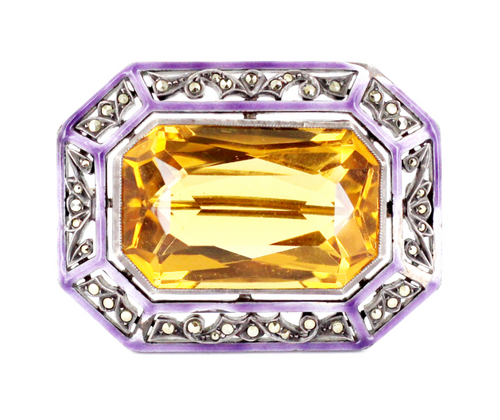"Antique Austro-Hungarian Sterling 53.7 ct Citrine Marcasite Purple Enamel Pin Brooch 1.6"" W Austria"