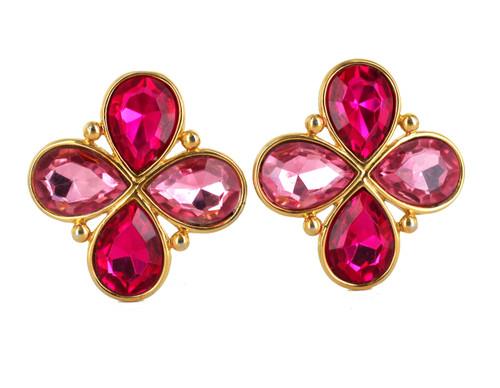 "Vintage Statement Napier Pink Crystal Rhinestone Clover Clip Earrings 1.75"""