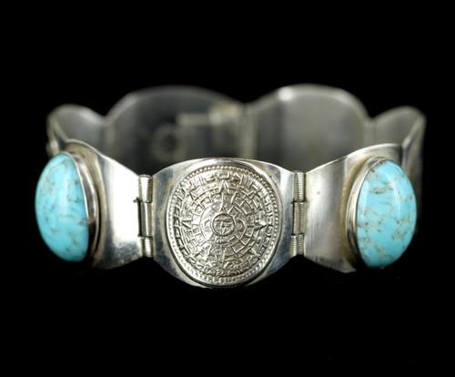 Vintage Sterling Silver #8 Turquoise Aztec Mexico Link Panel Bracelet 6.5