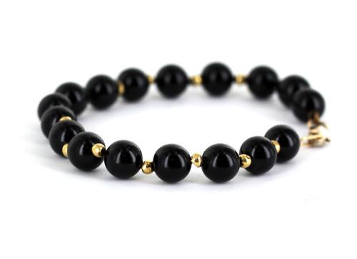 "Vintage Mid Century 14k Gold Black Onyx Bead Bracelet 7.75"""
