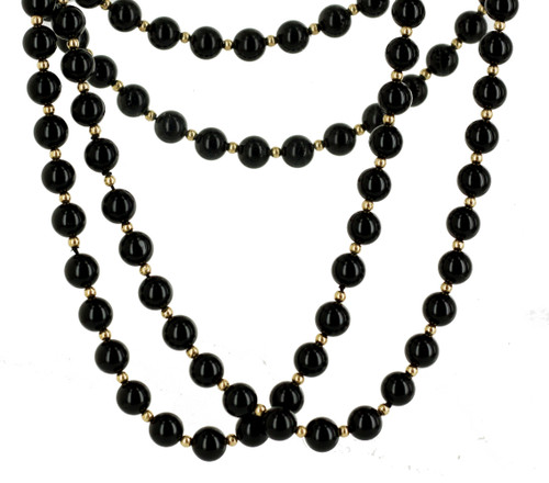 "Vintage Modernist 14K Gold & Black Onyx Round Bead Necklace 30"" Pretty 1960-1970"