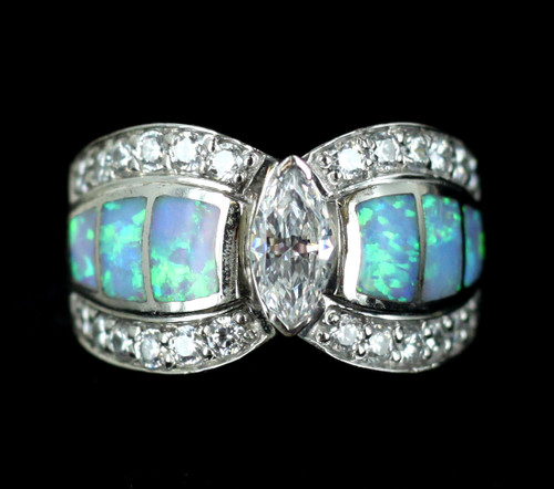 Vintage Sterling Silver Statement Simulated Blue Fire Opal & CZ Gorgeous! Ring 7