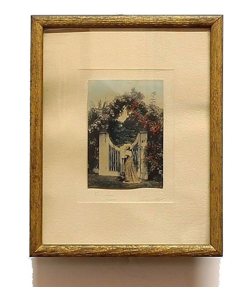 Antique David Davidson New England Rambler Rose Hand Tinted Framed Photograph