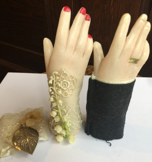 Antique Wedding Cake Topper Victorian Wax Hands LGBTQ With Fabic Cuffs  Elegant!