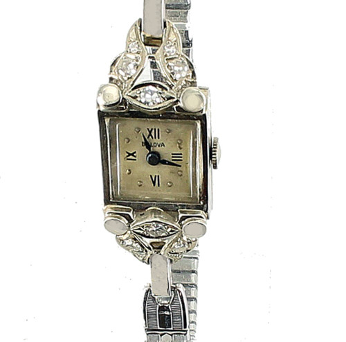 Vintage 14k White Gold Bulova 17jewels .27cttw -GHI VS-SI Diamonds  Watch Runs Well!