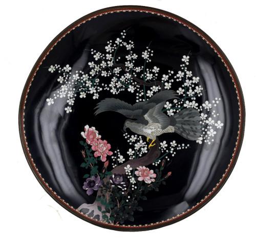 Japanese Meiji Wire & Wireless Cloisonne Charger Wall Plate Eagle in Flight