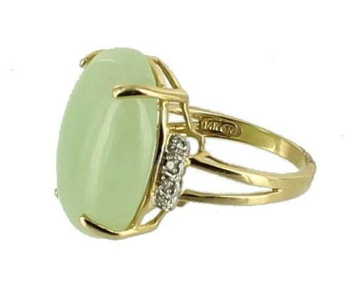 Vintage 14k Gold 18ct Pale Green Jadeite Jade Statement Oval Diamonds Ring Sz 8