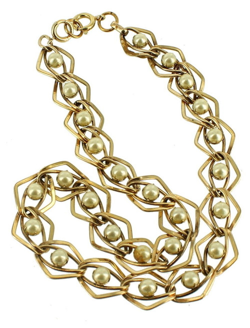 Antique Deco 12K Gf Gold Filled Pearl Double Chain Link Necklace So Pretty! 16""