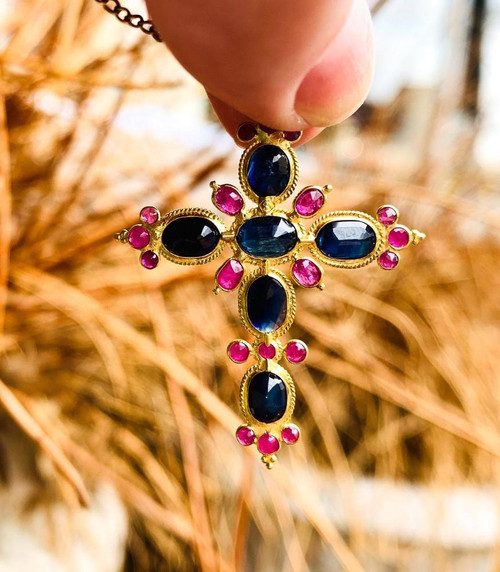 Antique Romantic Period 22k Gold Sapphire Ruby Cross Victorian Pendant Necklace