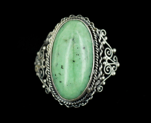 Antique Art Deco Chinese Sterling Silver Jade Jadeite Filigree Ring 6.5 Beauty