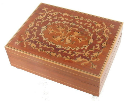 VINTAGE WALNUT REUGE SWISS MUSIC BOX INLAID WOOD ~ FREE FORM DESIGN PLAYS MORE