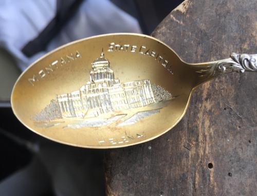 Antique Shepard Sterling Helena Montana Oro Y Plata Victorian Souvenir Spoon 5