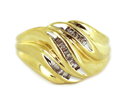 Vintage Mid Century 10k Yellow Gold Wave Swirl Dome Diamond Baguette Ring Sz 7.5