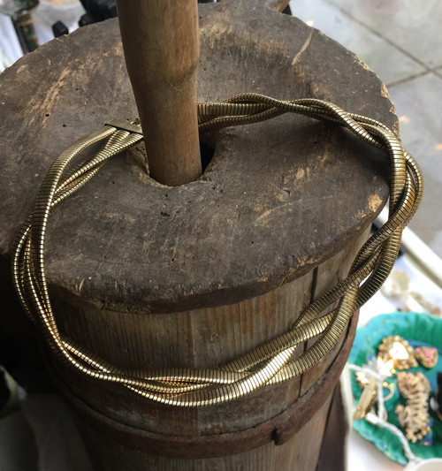 """Antique Deco 10K GF Gold Filled Snake Mesh Braid 3 Necklace Binder Bros 14"""""""