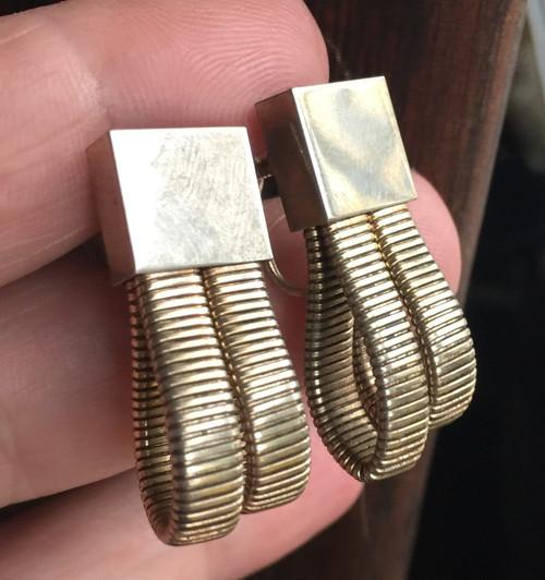 Antique Deco 10K GF Gold Filled 2 Snake Mesh Screw Bk Earrings Binder Bros